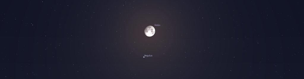 The moon near the star Regulus in Leo, as shown by the Stellarium planetarium app. Regulus here appears roughly 1/10 the diameter of the moon—the approximate size Ptolemy and others measured it to be.