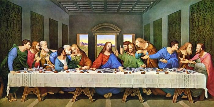 Jesus instituting the Eucharist at the Last Supper