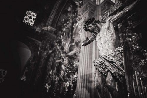 greyscale, crucifix in baroque church